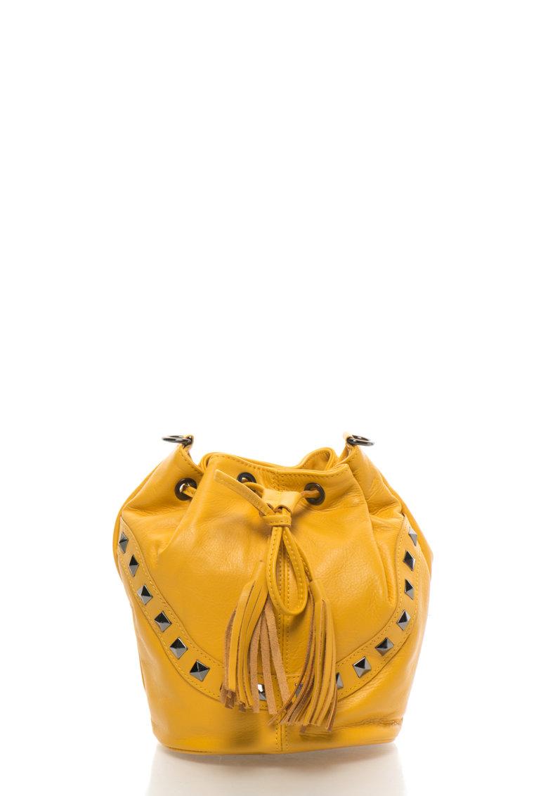 Geanta bucket crossbody galbena de piele de la Zee Lane