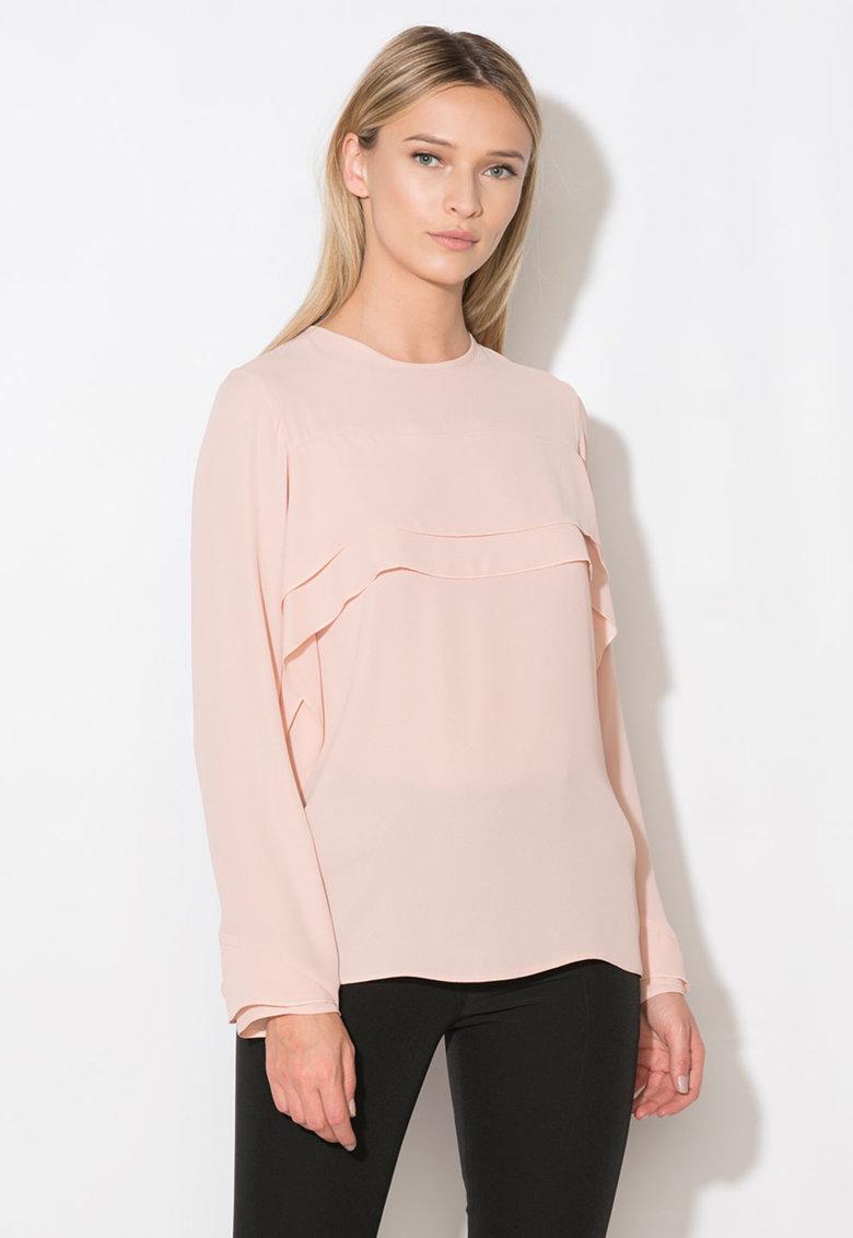 Bluza roz prafuit cu volane Zee Lane Collection