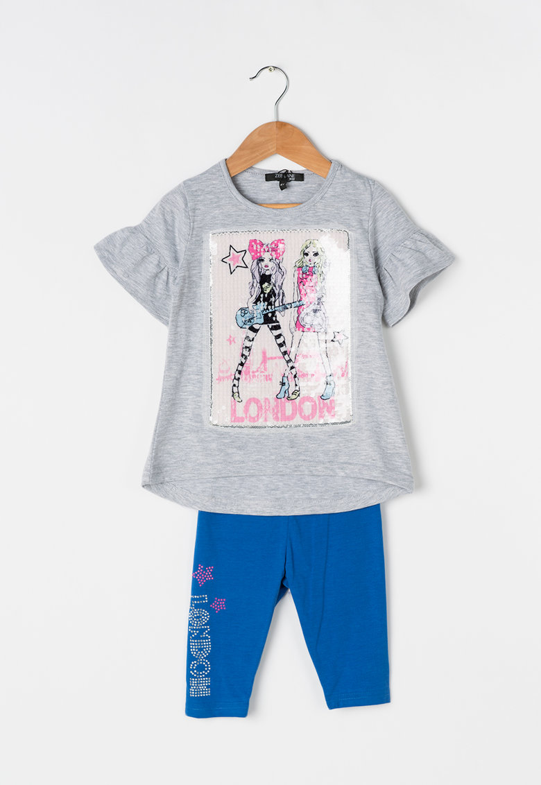 Zee Lane Kids Set gri melange cu albastru de tricou si colanti