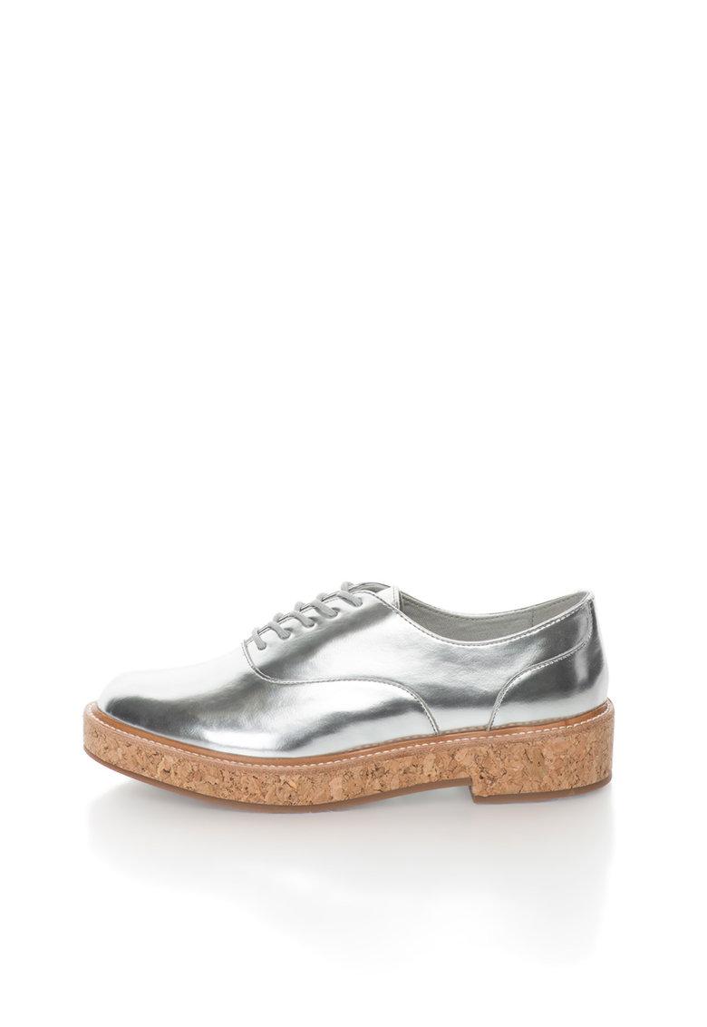 Pantofi derby argintii cu talpa de pluta Terrana de la Aldo