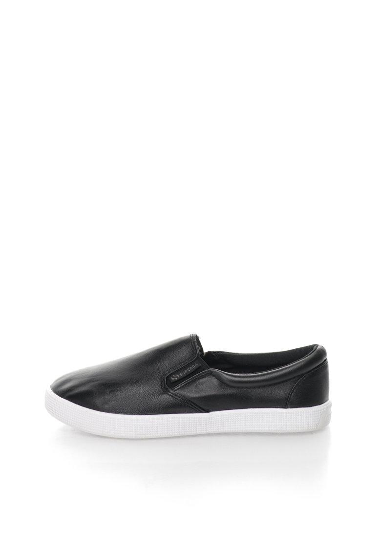 Superga Pantofi slip-on negri de piele