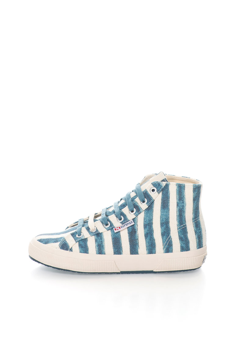 Pantofi sport inalti crem cu albastru in dungi de la Superga