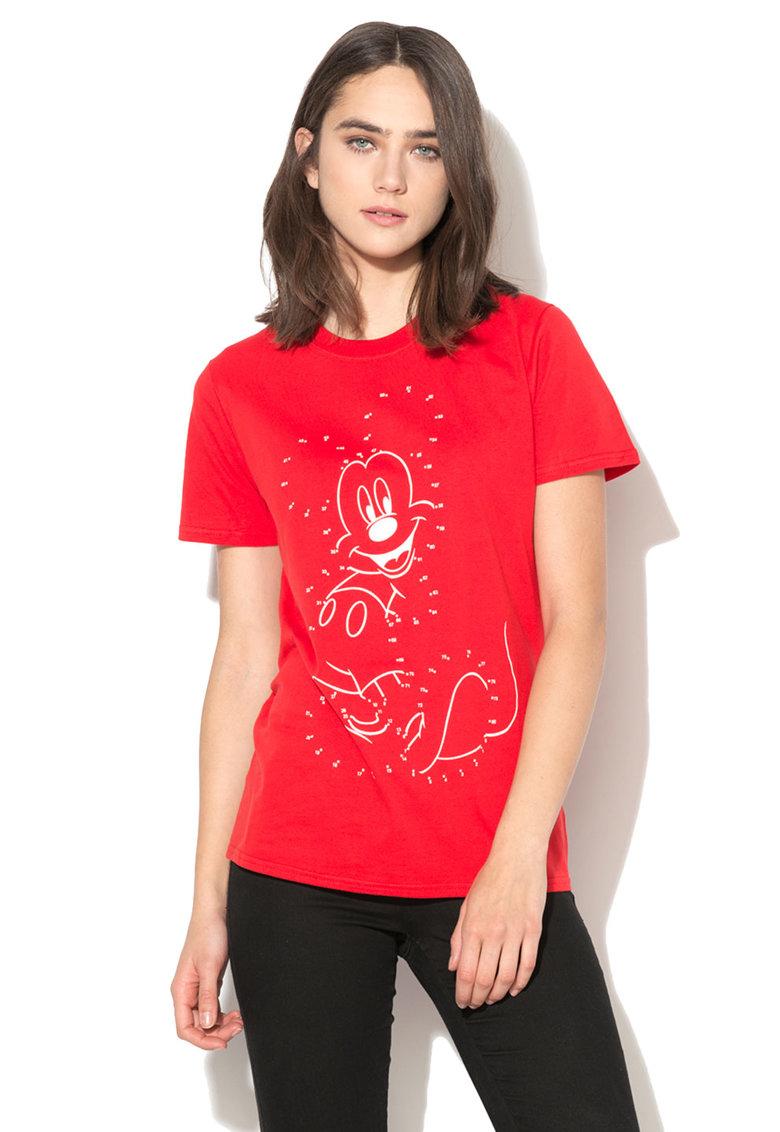 Disney Tricou rosu cu imprimeu alb Mickey