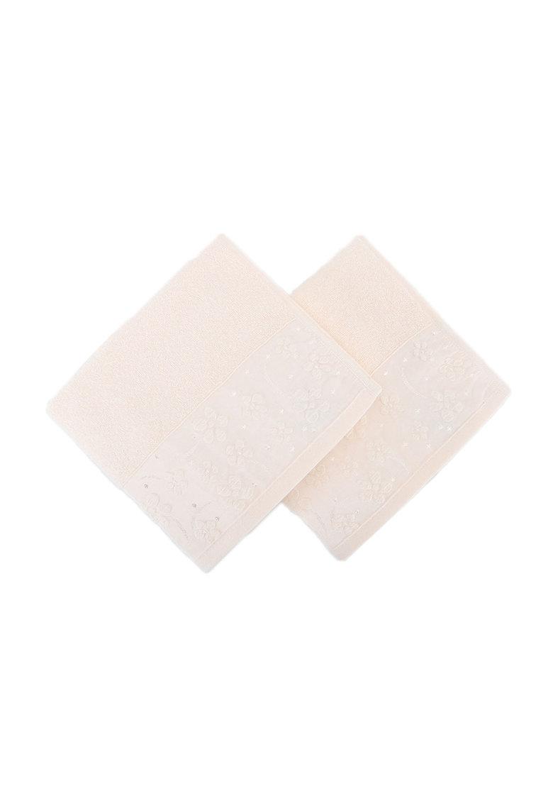 Leunelle Set de prosoape de maini roz pal cu model floral – 2 piese
