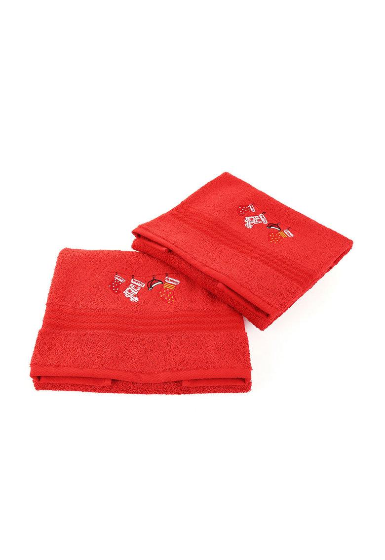 Leunelle Set de prosoape rosii cu broderie tematica – 2 piese