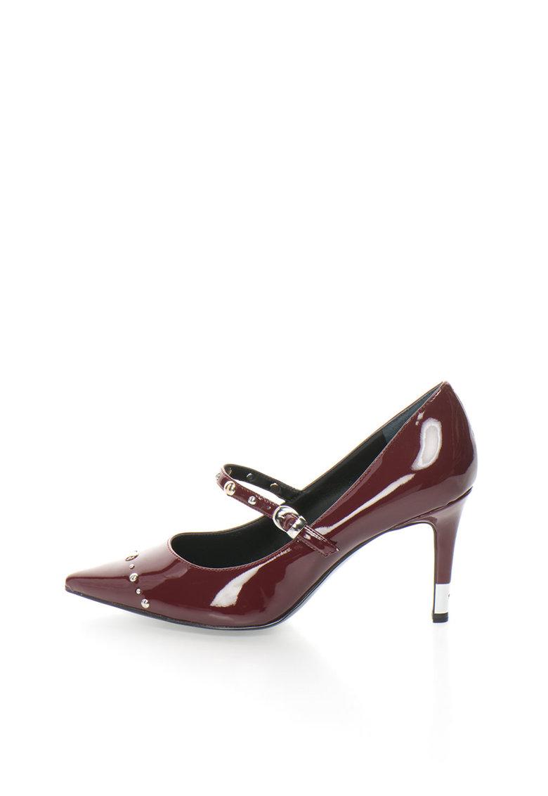GUESS Pantofi rosu Bordeaux lacuiti cu varf ascutit