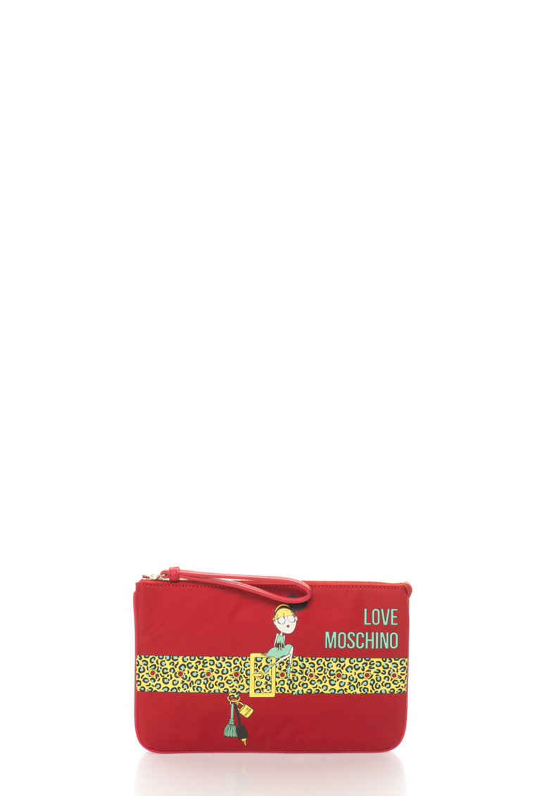 Love Moschino Geanta plic rosie cu imprimeu multicolor