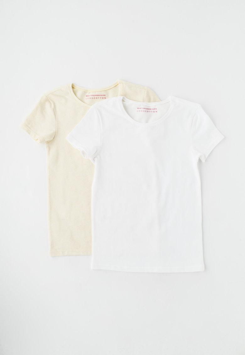Undercolors of Benetton Set de tricouri de casa galben pal cu alb – 2 piese