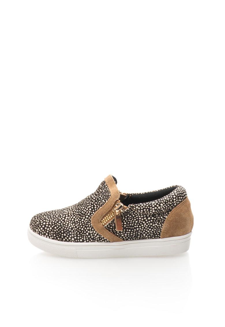 Colors of California Pantofi slip-on maro cu alb din piele cu par scurt