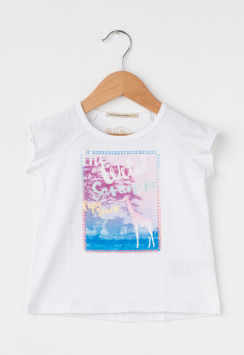 Pepe Jeans London Tricou alb cu imprimeu stralucitor Velma