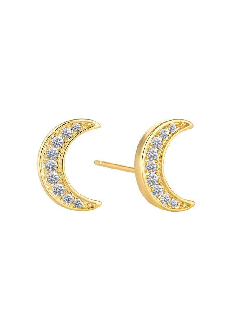 Diamond Style Cercei aurii cu tija si cristale Swarovski Crescent