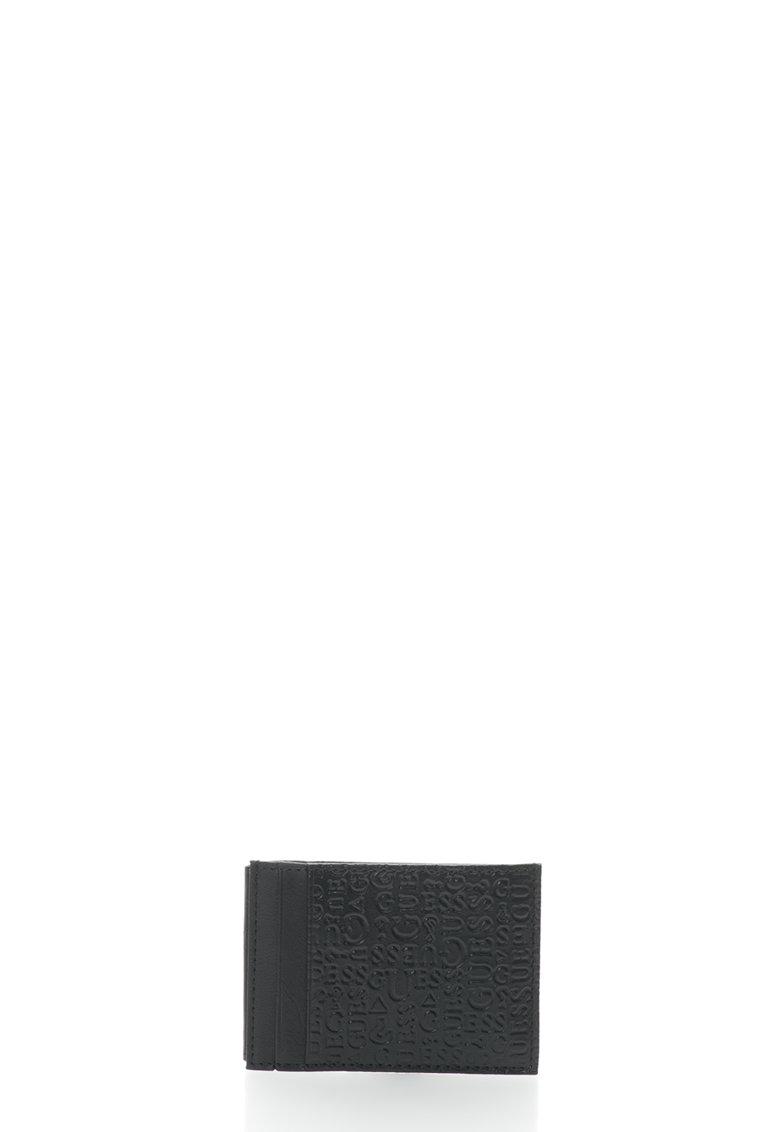GUESS Suport pentru carti de vizita negru de piele cu model in relief