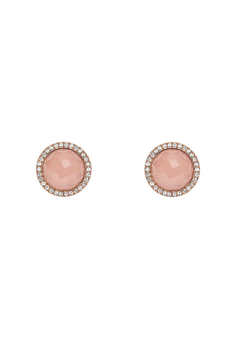 Fossil Cercei auriu rose cu pietre roz