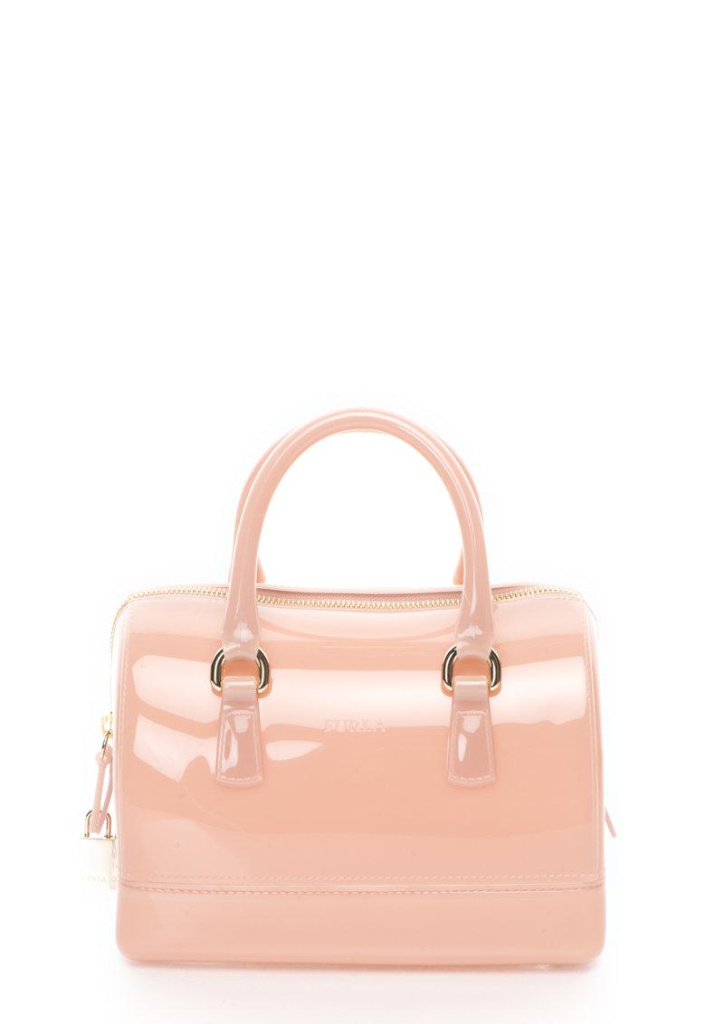 Furla Geanta mica duffel cauciucata roz prafuit Candy Cookie