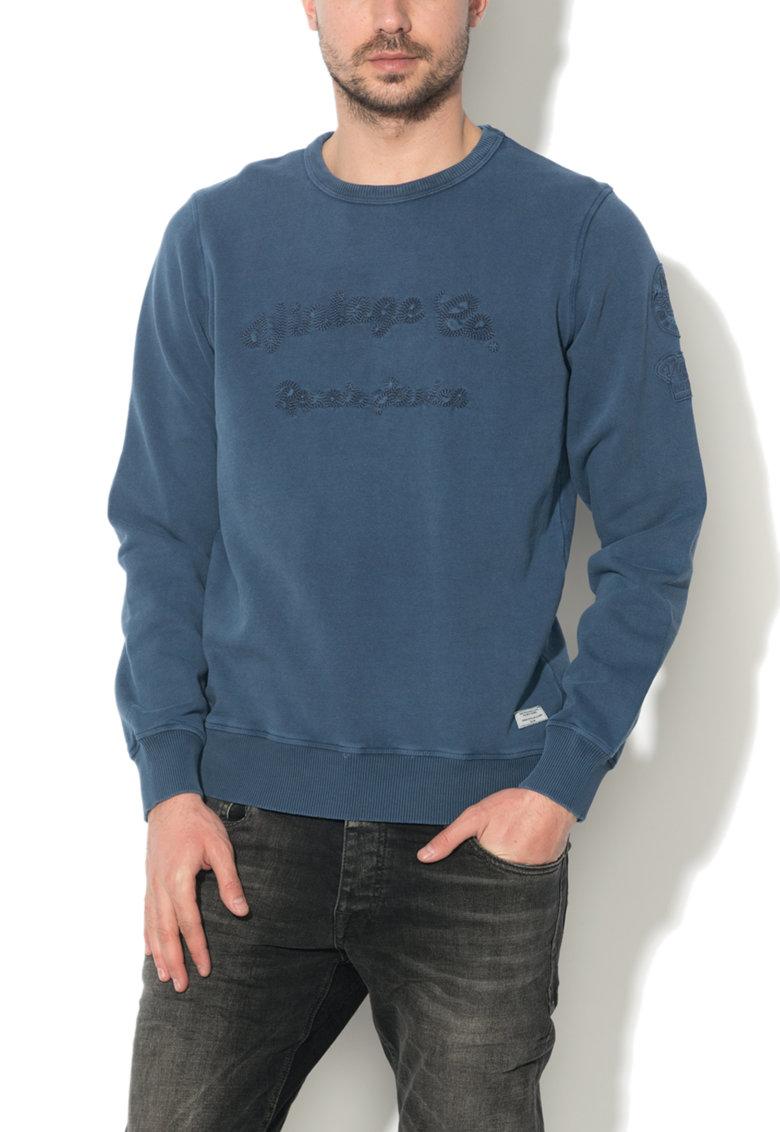 Bluza sport albastru inchis cu decolteu la baza gatului Jayden