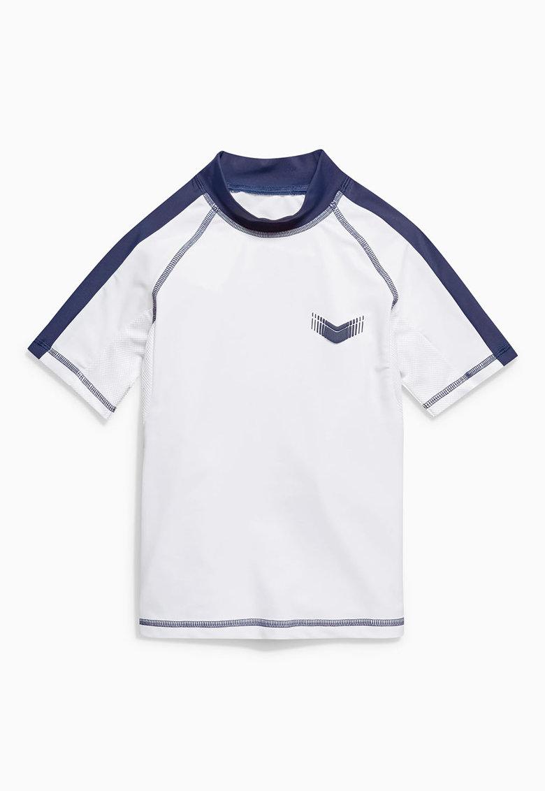 Tricou alb cu bleumarin