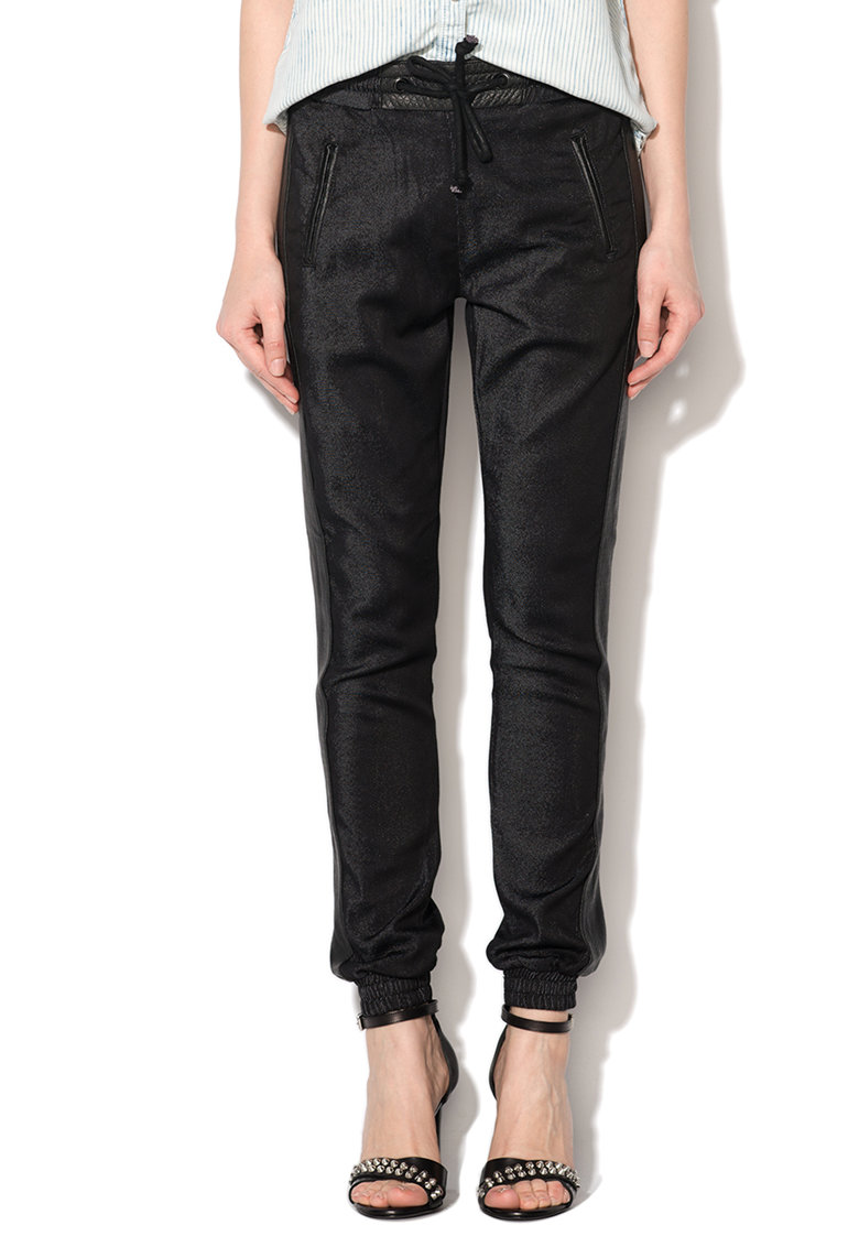 Pepe Jeans London Pantaloni regular fit conic negri cu terminatii elastice Cosie