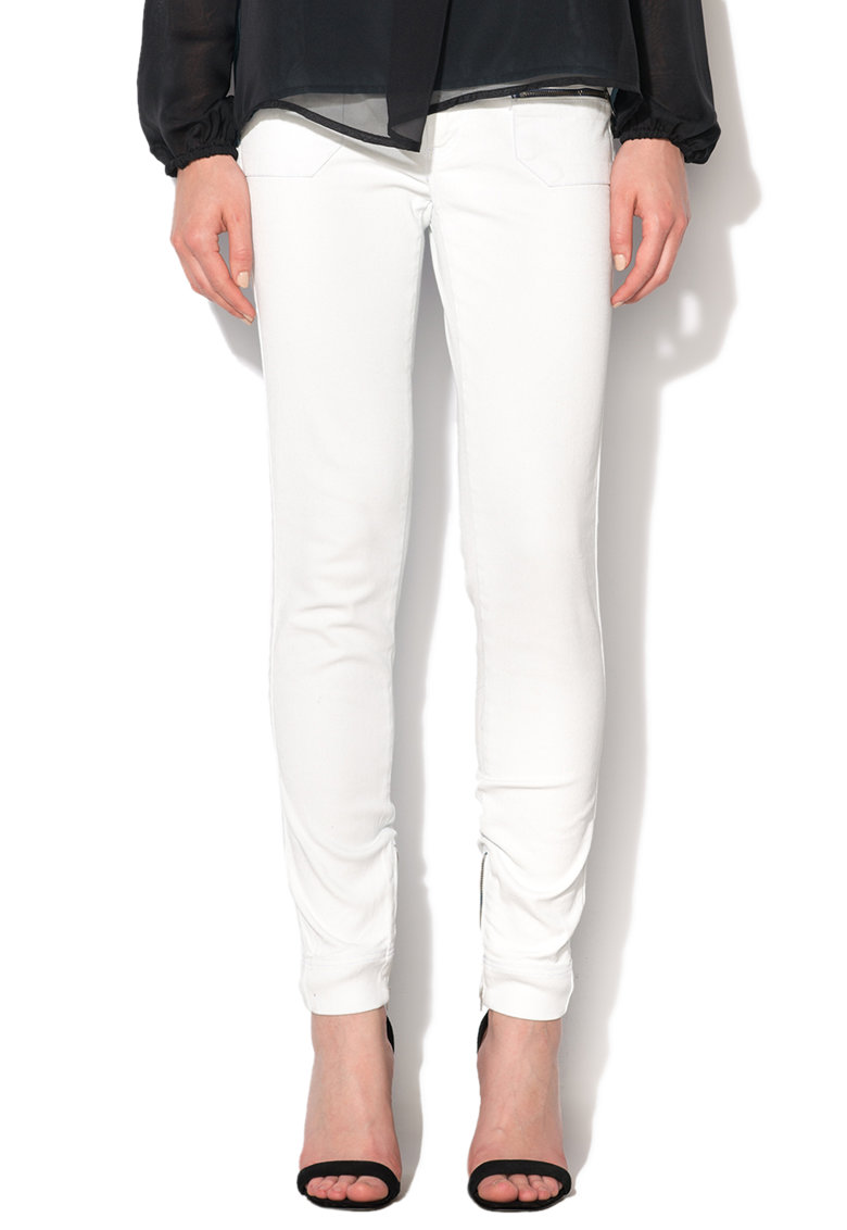 GAS Jeansi skinny albi cu buzunare cu fermoar Sumatra