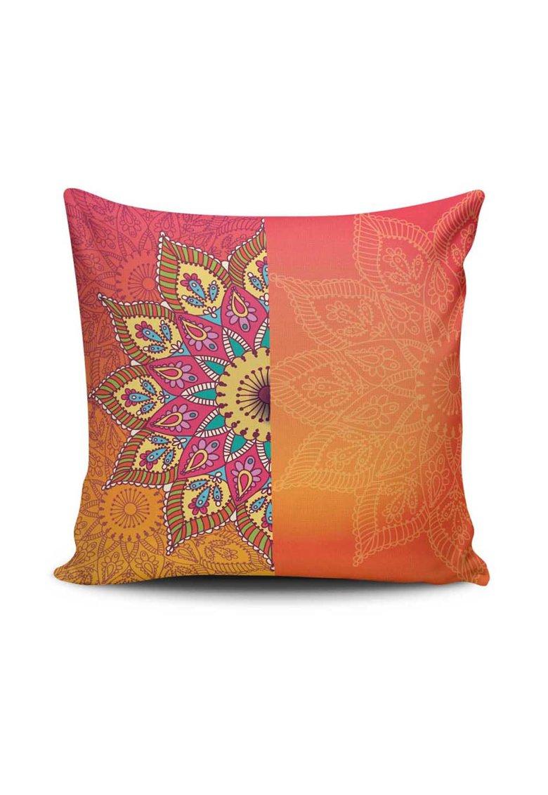 Husa oranj pentru perna decorativa cu imprimeu Mandala