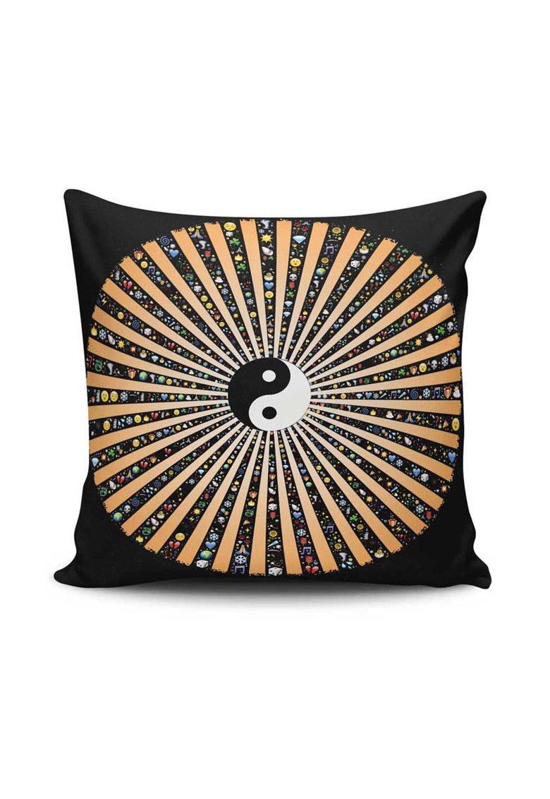 Husa neagra pentru perna decorativa cu yin si yang Mandala