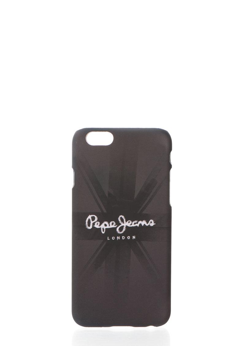 Pepe Jeans London Carcasa neagra cu imprimeu logo pentru iPhone6