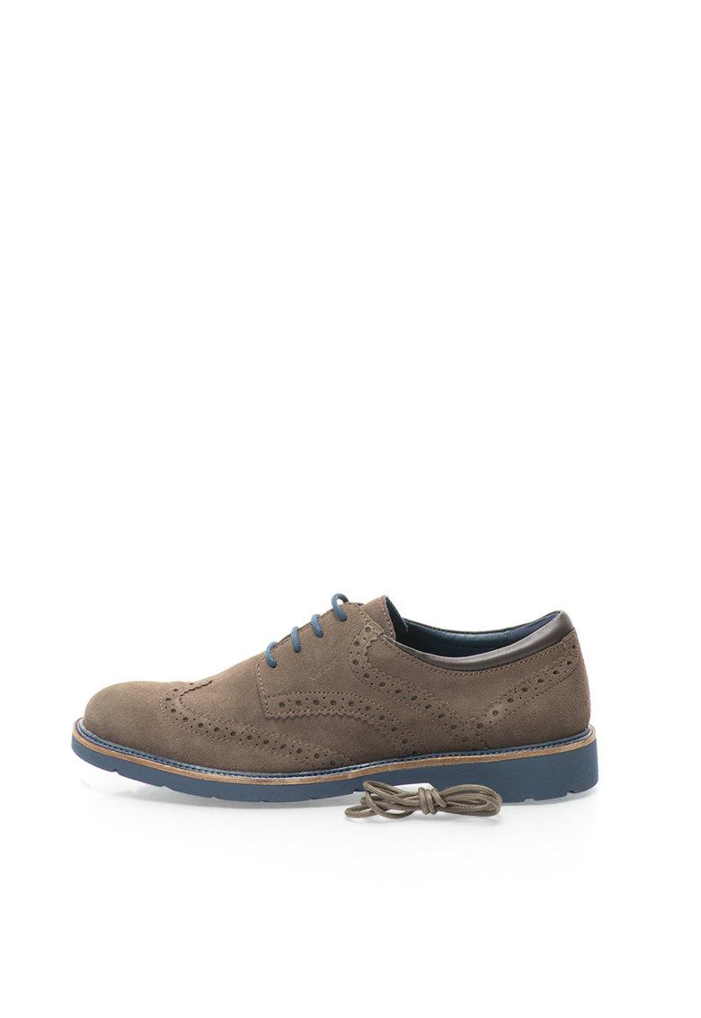 Geox Pantofi Brogue maro havana din piele intoarsa Garret