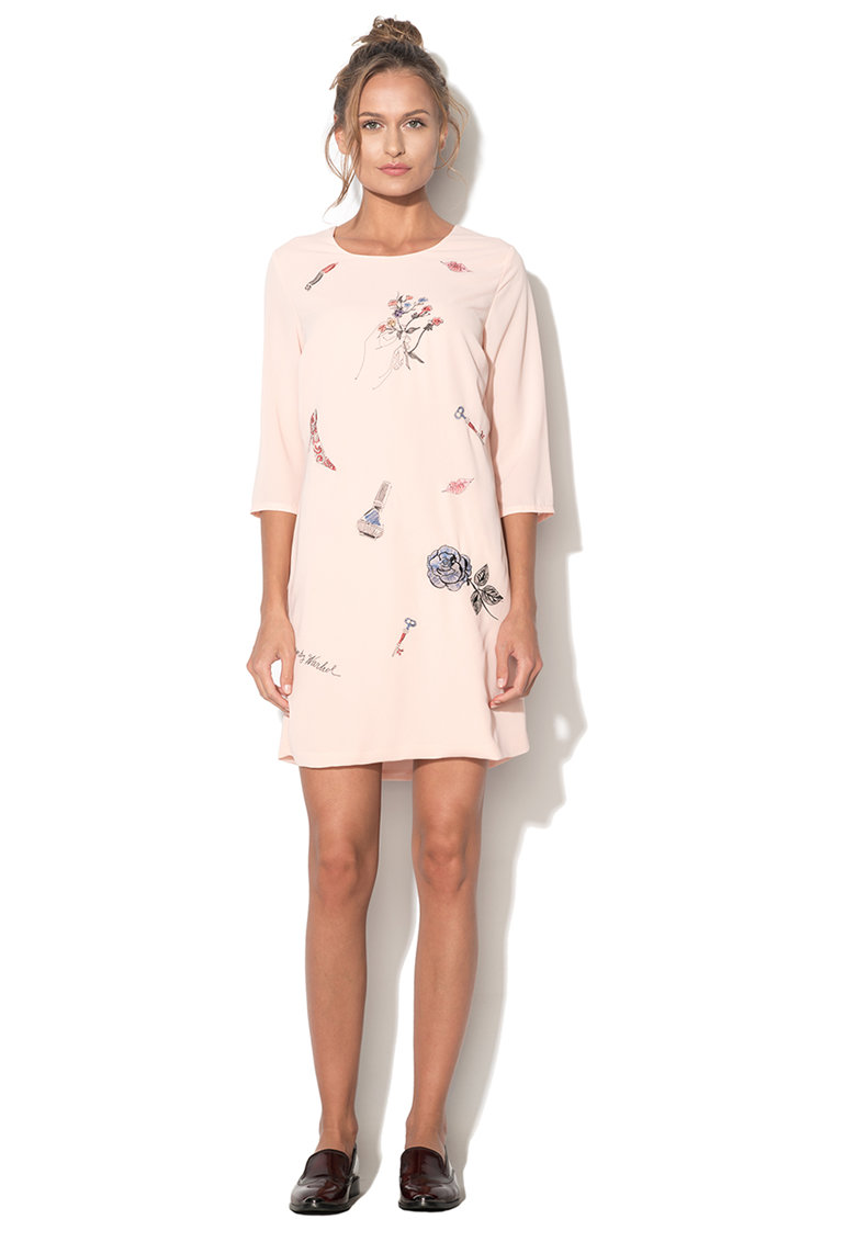 Andy Warhol by Pepe Jeans Rochie roz piersica cu broderie sic Empire