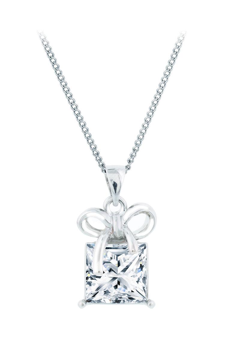 Diamond Style Pandantiv placat cu aur alb cu cristal Swarovski®