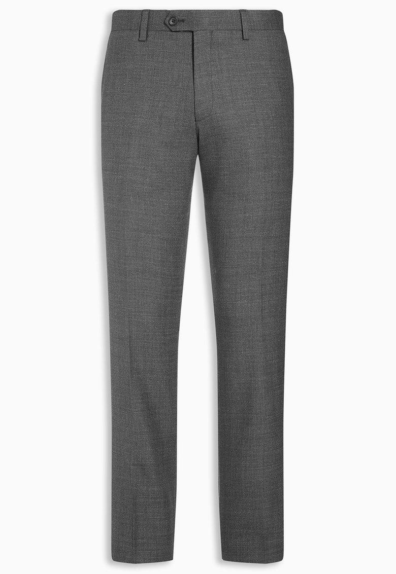 Pantaloni gri inchis texturati de lana