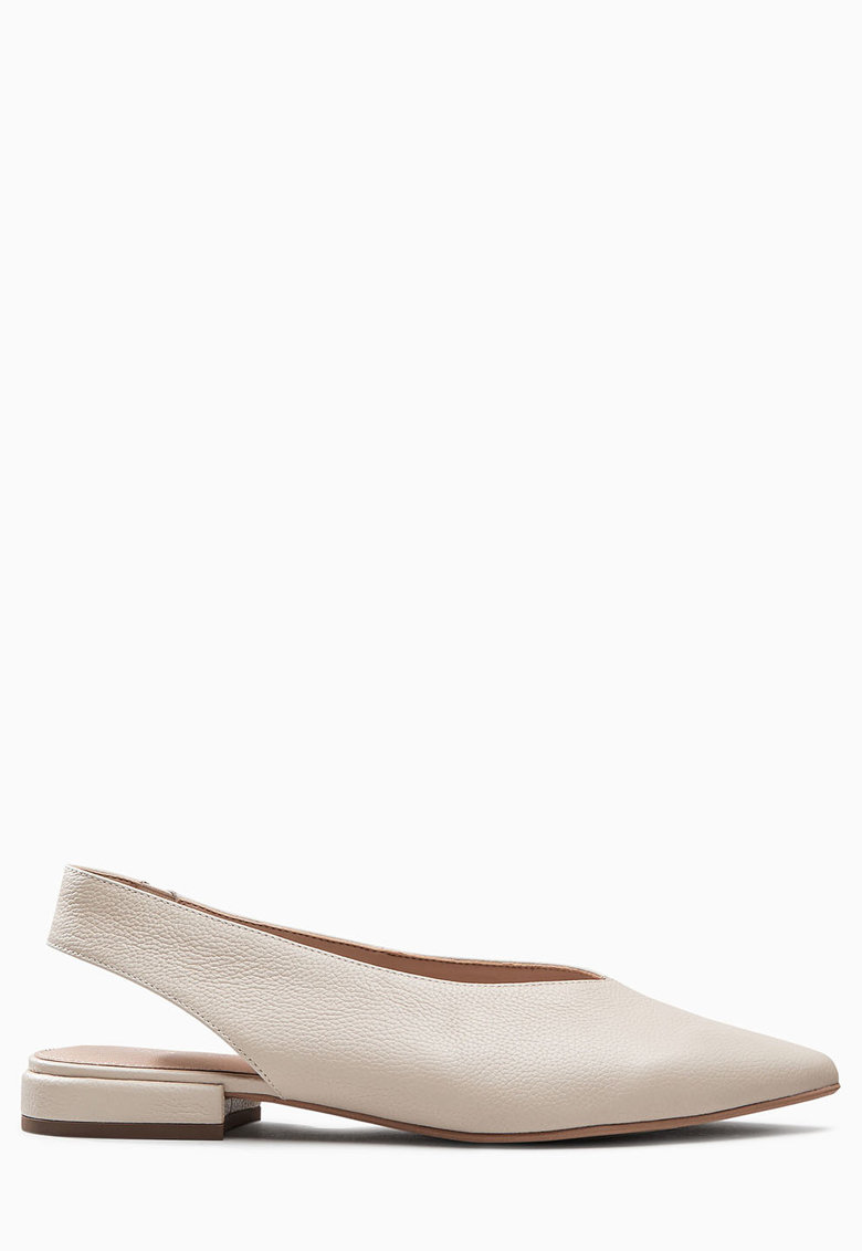 NEXT Pantofi slingback alb prafuit de piele cu varf ascutit