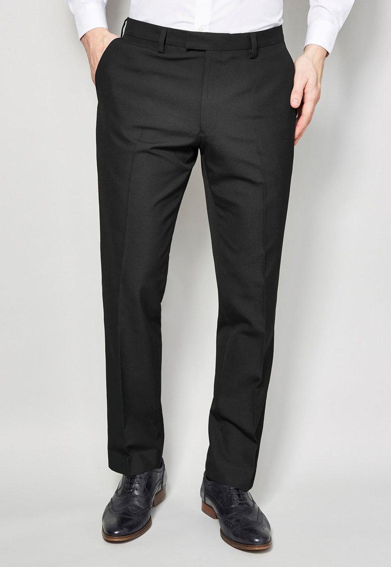 Pantaloni eleganti negri cu garnitura contrastanta