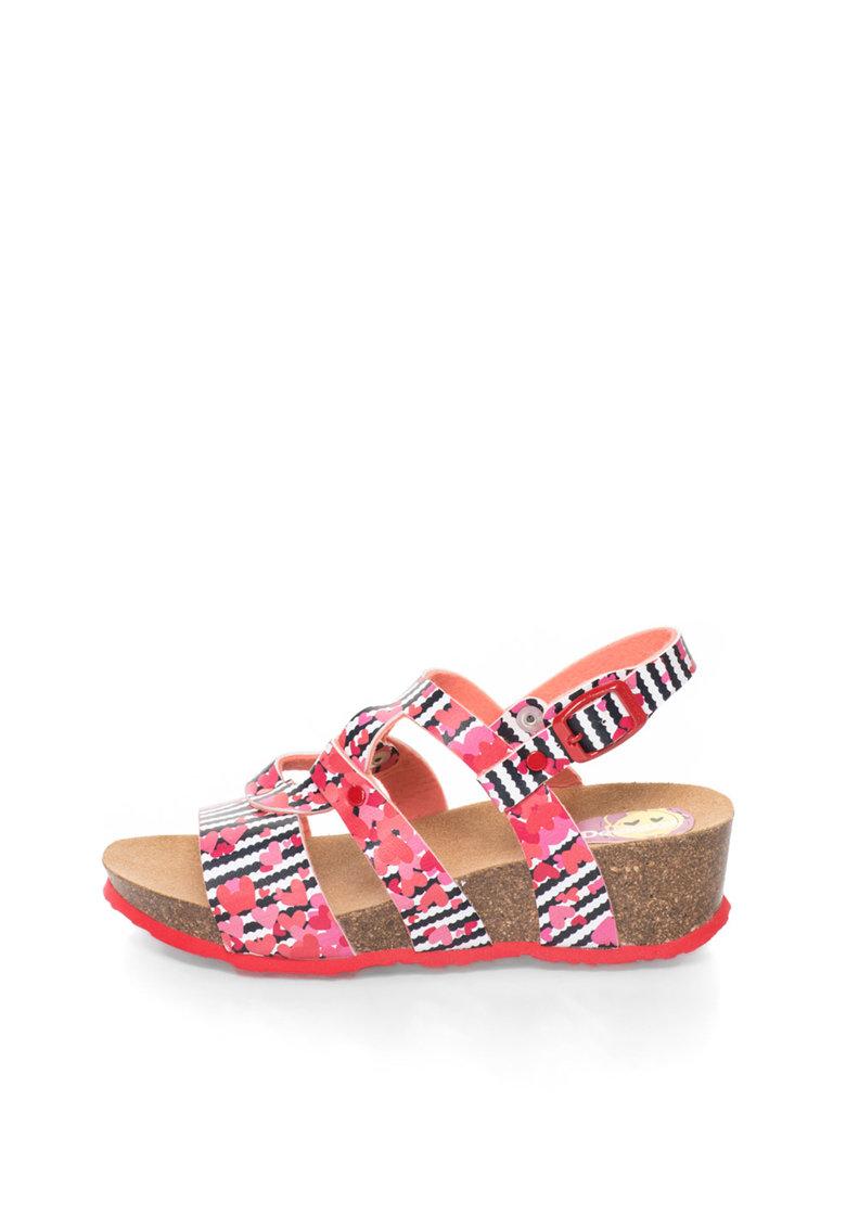 Sandale wedge in nuante de roz si monocrome Trazos de la DESIGUAL