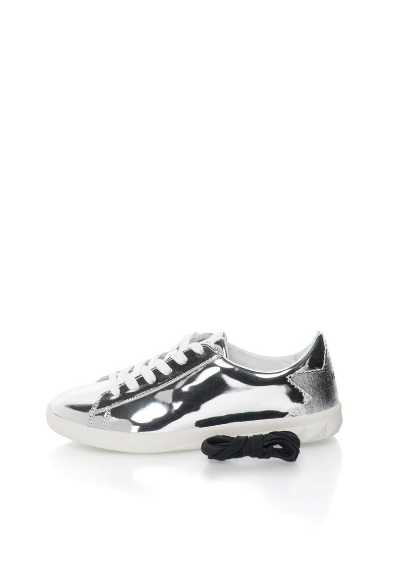 Diesel Pantofi sport argintii cu detaliu cu aspect crapat Olstice