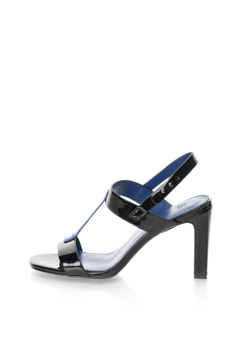 Sandale negru cu albastru lacuite de la United Colors Of Benetton