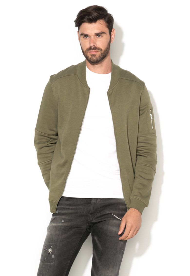 JackJones – Bluza sport bomber regular fit verde oliv Pete 12119060-DUSTY-OLIVE