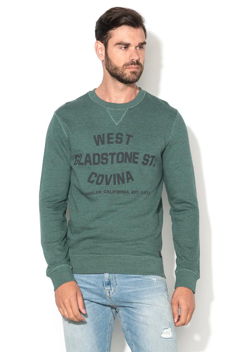 Selected Homme Bluza sport verde trifoi melange cu text Hemmet