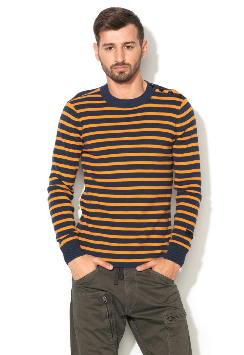 G-Star Raw Bluza oranj cu bleumarin in dungi tricotata fin Dadin