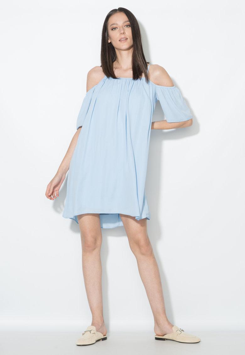 Rochie bleu cu decolteu pe umeri