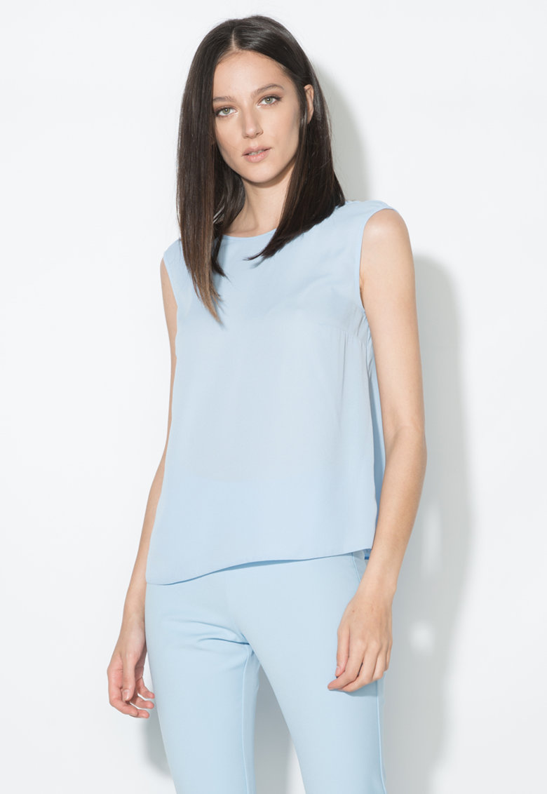 Top bleu transparent cu decolteu in V Zee Lane Collection