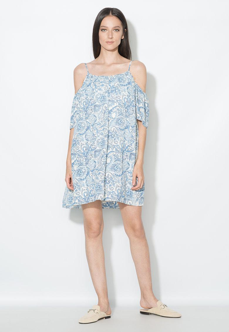 Zee Lane Collection Rochie albastru si alb prafuit cu decupaje pe umeri