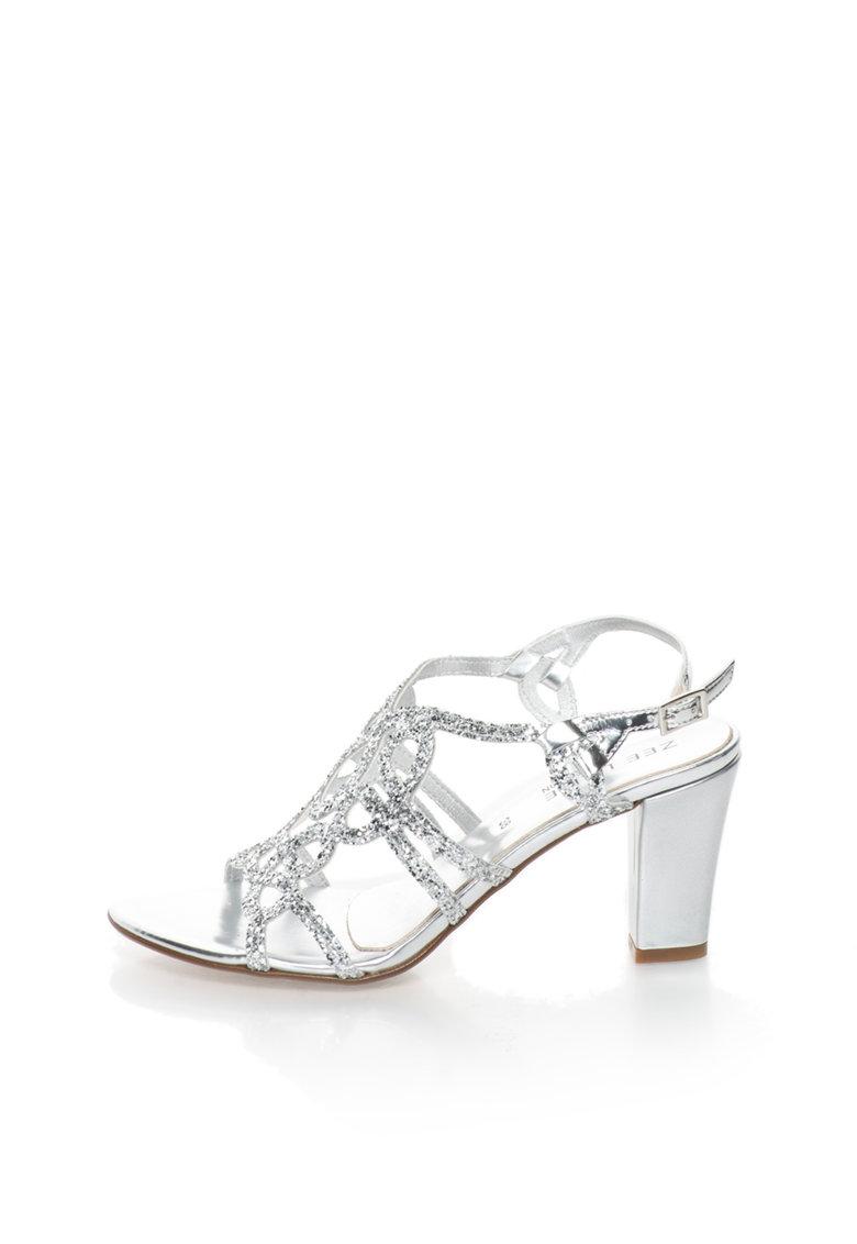 Zee Lane Collection Sandale argintii cu particule stralucitoare