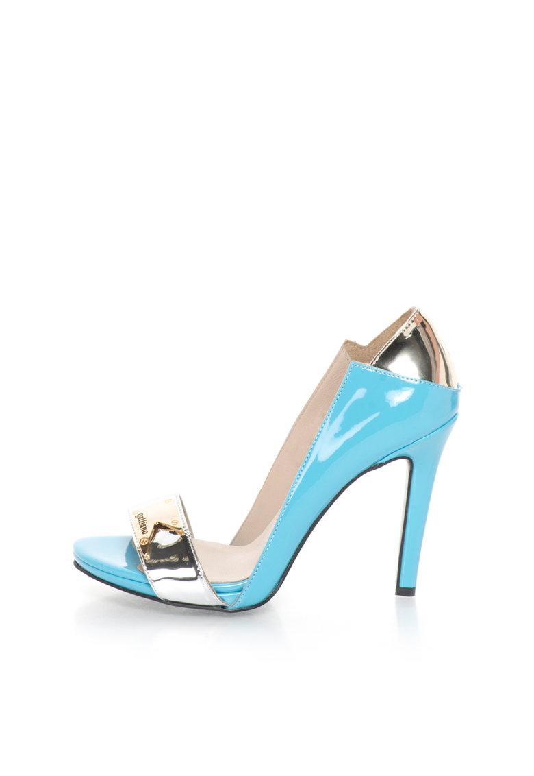 John Galliano Pantofi bleu cu argintiu cu aspect lacuit si varf decupat