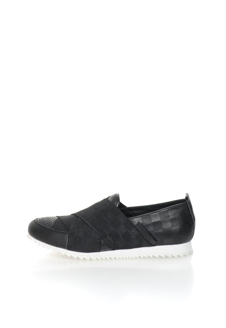 John Galliano Pantofi slip-on negri de piele cu insertie elastica decorativa