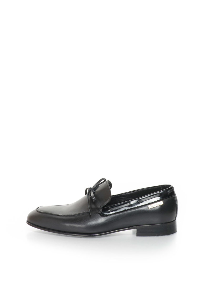 Pantofi loafer negri de piele de la John Galliano