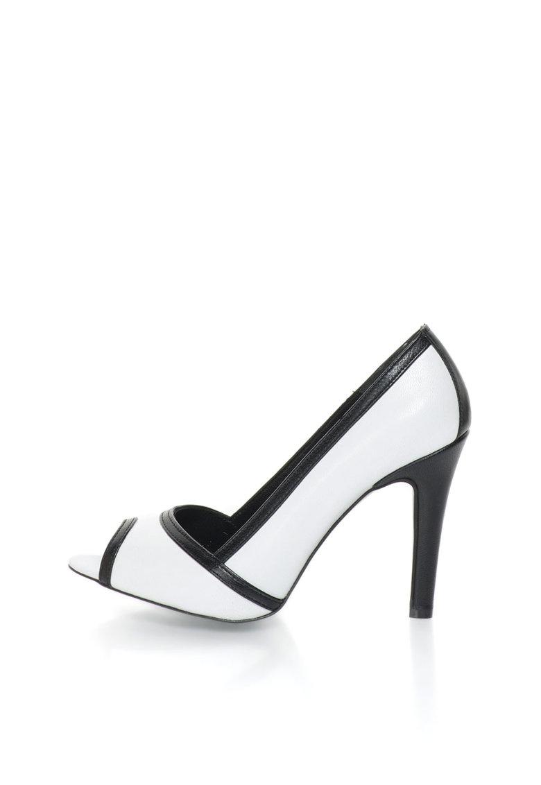 John Galliano Pantofi peep-toe negru cu alb de piele