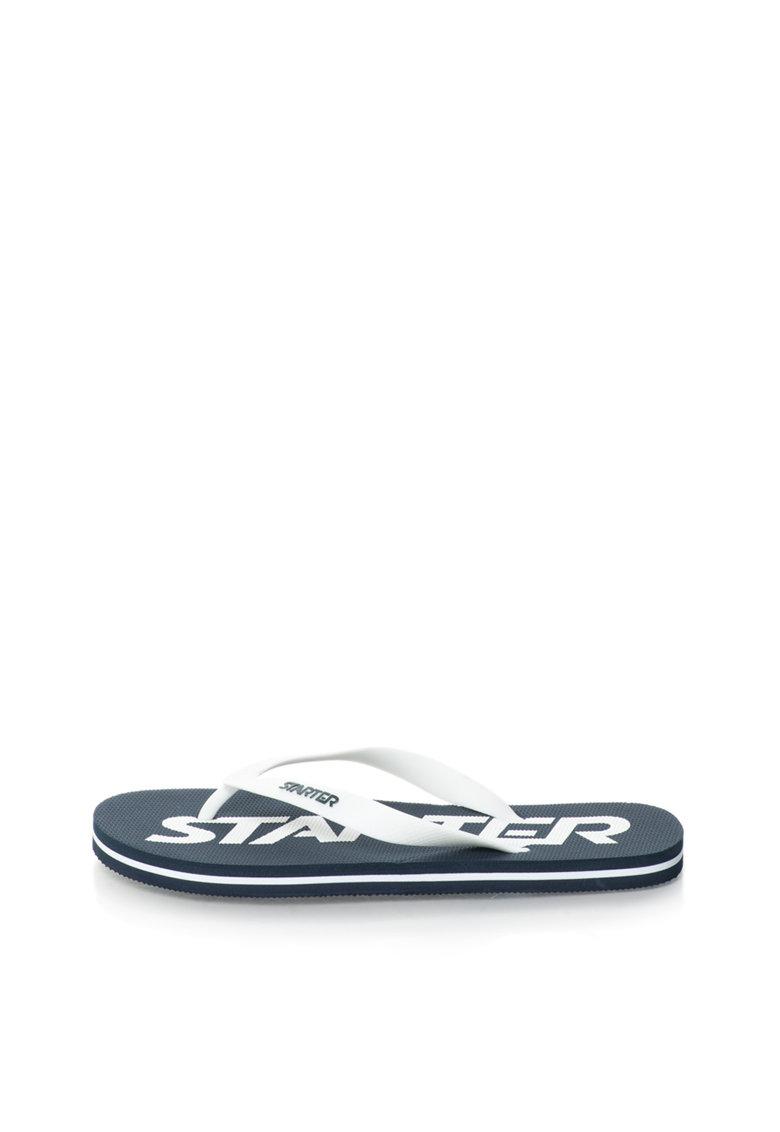 Starter Papuci flip-flop alb prafuit cu logo bleumarin inchis Phoenix