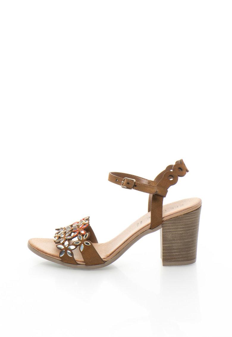 Sandale de piele intoarsa cu toc masiv
