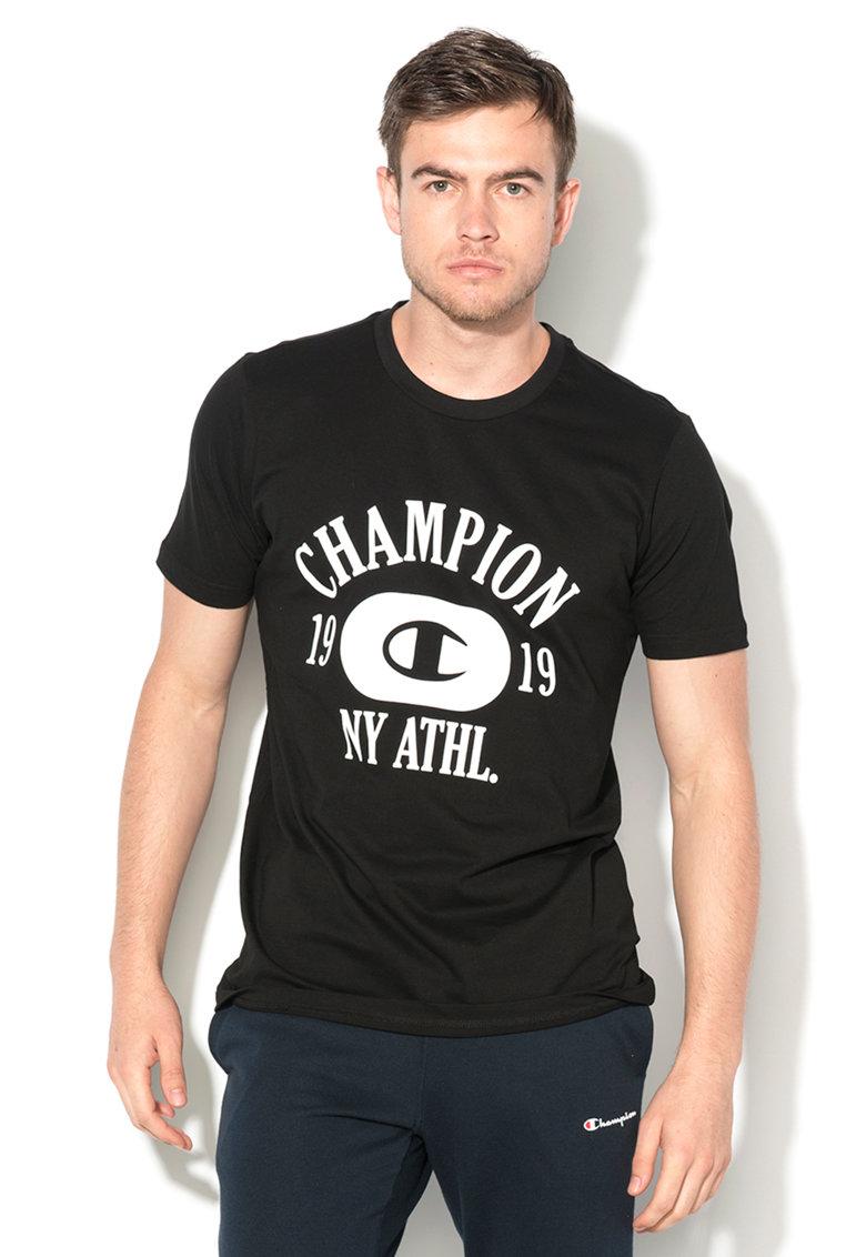 Tricou negru cu imprimeu text
