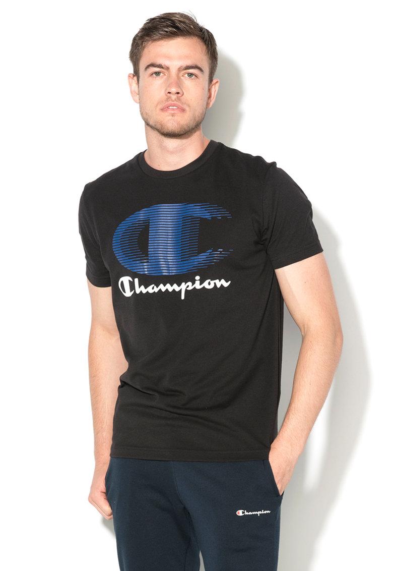 Champion Tricou negru easy fit cu imprimeu
