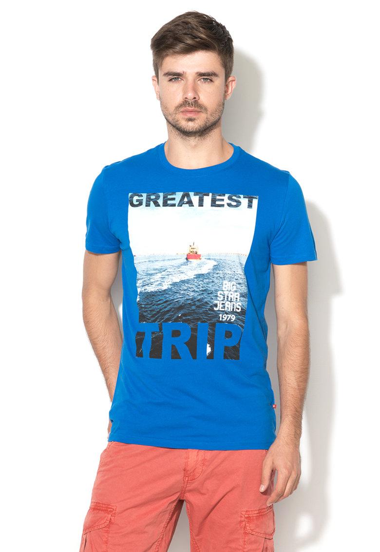 Big Star Tricou albastru cu imprimeu text si foto Bouted